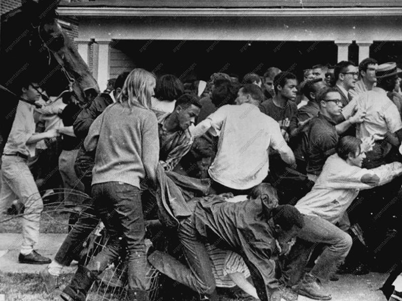MONTGOMERY, ALA.: Racial demonstrators fall over themselves in effort to flee club- swinging mounted sheriff's deputies who moved in to break up their demonstration here 3/16. Fourteen demonstrators were injured in he resulting melee.