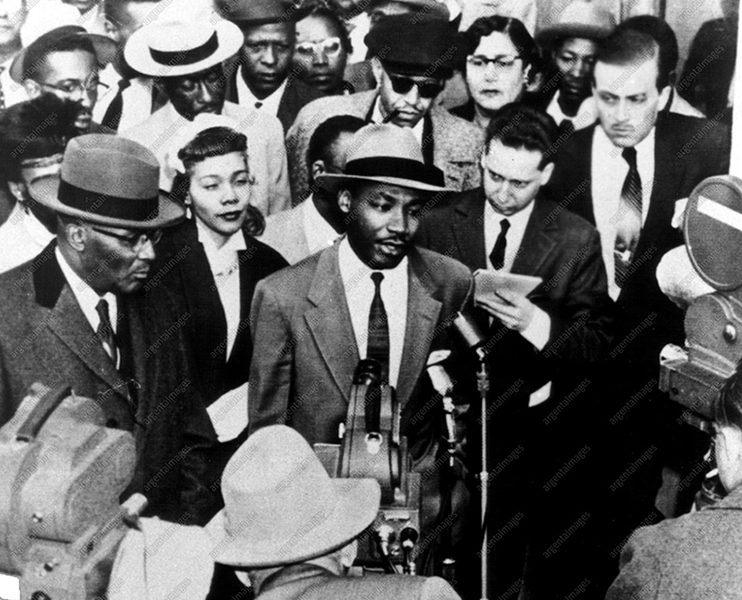 "Eyes On The Prize: America's Civil rights years 1954-1965, premieres with ""Awakenings 1954-1956,"" airing Wednesday, January 21 at 9pm on PBS (check local listings). Shown, the Rev. Martin Luther King, Jr., Alabama, bus boycott in 1955-1956. Eyes on the Prize is produced by Blackside, Inc. and presented on PBS by WGBH Boston."